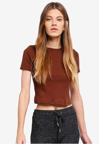 TOPSHOP brown Short Sleeve Scallop T-Shirt 259FDAAC30B3E5GS_1