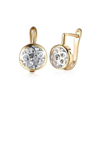 Glamorousky white Elegant Plated Champagne Gold Pierced Round Cubic Zircon Earrings 28D4BAC12D18EBGS_1