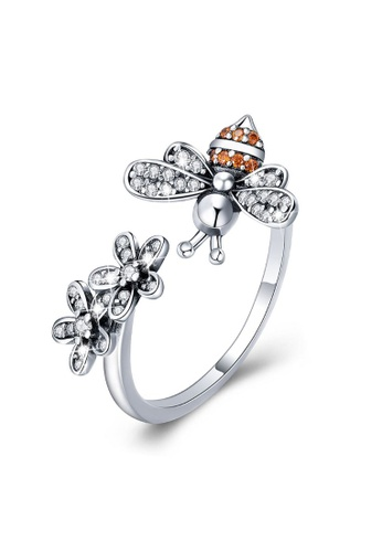 925 Signature 925 SIGNATURE Solid 925 Sterling Silver Daisy Bee Ring ED0DAAC1C3C2D3GS_1