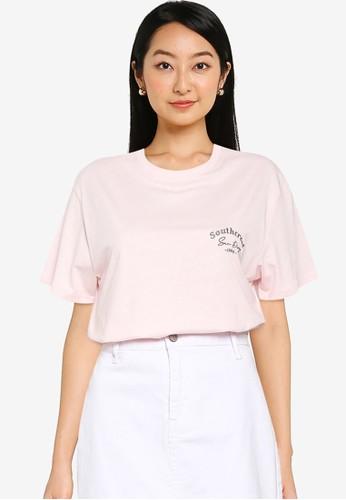Supre pink Lola Printed Longline T Shirt DB080AADF38FFAGS_1