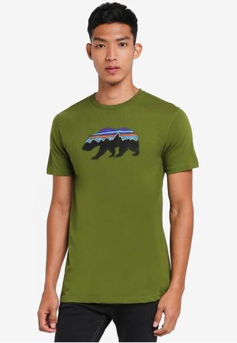 Patagonia green Fitz Roy Bear Organic T-Shirt PA549AA0SVMHMY_1