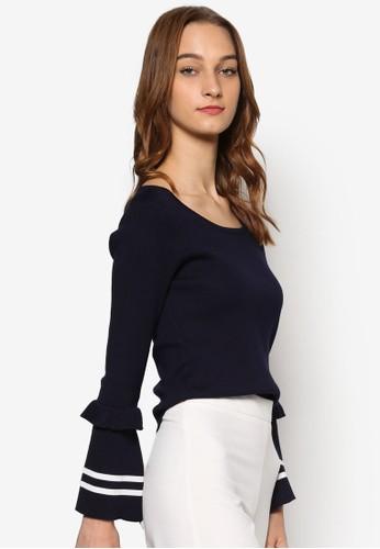 條紋荷葉飾長袖esprit 台北衫, 服飾, 女性服飾