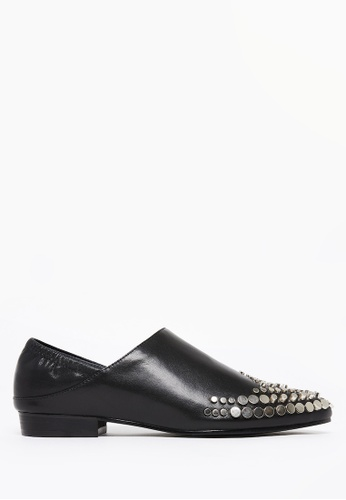 PAZZION black Studded High Cut Slip-ons 3D57ESH079351BGS_1