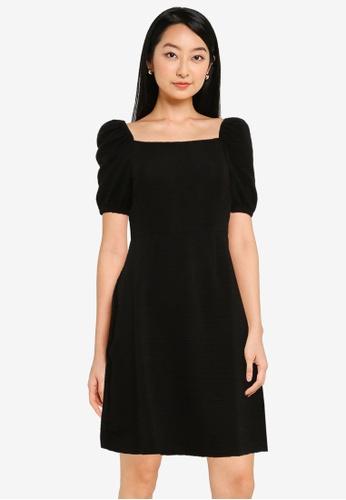 ZALORA BASICS black Square Neck Fit & Flare Dress 0466BAAD768003GS_1
