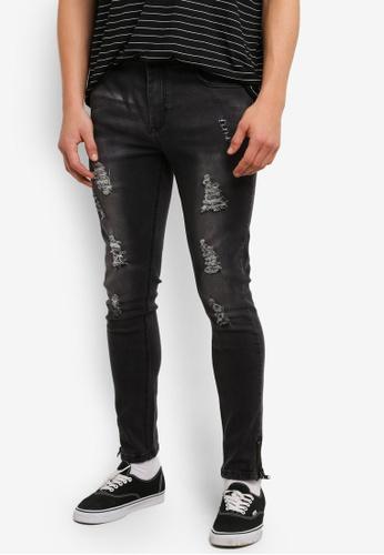 Flesh IMP 黑色 Distressed Groot Jeans FL064AA0RTP8MY_1