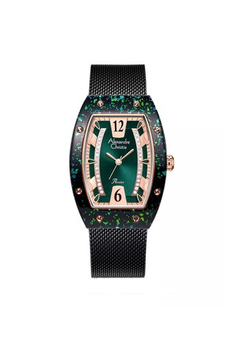 Alexandre Christie black and green and multi Alexandre Christie AC 2856 LHBBRGN Jam Tangan Wanita Mesh Strap 6D942AC83A7C29GS_1