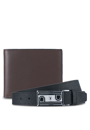 Playboy brown Playboy Reversible Belt & Wallet Gift Set PL371AC0SYLWMY_1