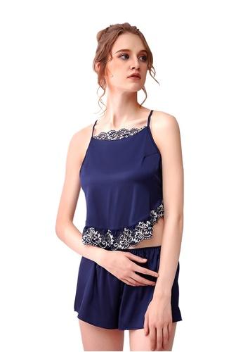 LYCKA blue LCB2141-Lady Casual Pajamas Two Pieces Set-Blue B877FUSF4C8428GS_1