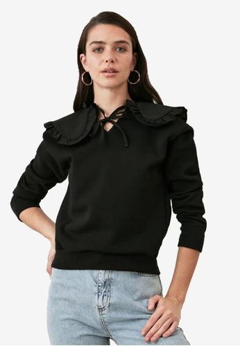 Trendyol black Ribbon Tie Neck Collar Detail Sweatshirt 62990AA6DF0919GS_1