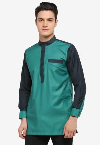 Mayasilk green Kurta Italian Crepe Contrast Collar E62ADAA64E750DGS_1