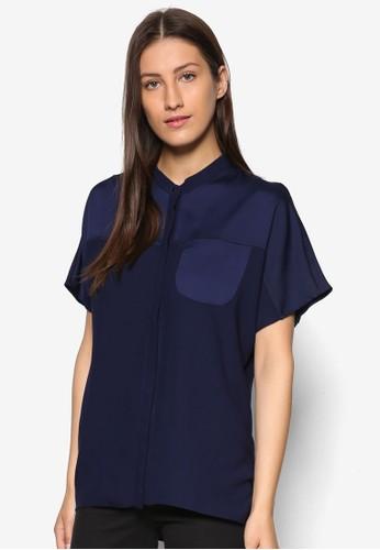 拼色寬版短袖襯衫, esprit hk outlet服飾, 上衣