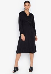Susto The Label black Hope Wrap Billowy Sleeve Dress 1DAC3AAABE4207GS_1