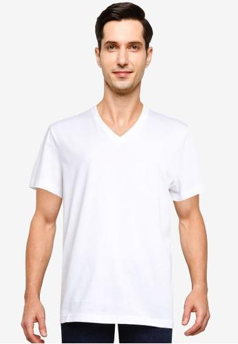 Banana Republic white Authentic V-Neck T-Shirt 2C218AA5B06958GS_1