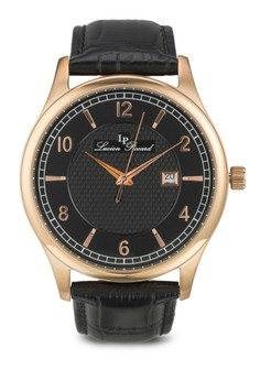 Weisshorn Black Genuine Leather and Dial Rose-Tone Case Watch