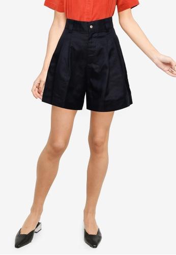 The Duo black Cotton Linen Shorts C4BB9AA8B3561EGS_1