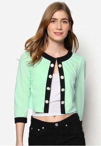 Stamfoesprit服飾rd 對比色滾邊短版開襟外套, 服飾, 外套