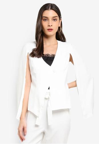 MISSGUIDED white Open Sleeve Darted Jacket F12F6AA38E029FGS_1