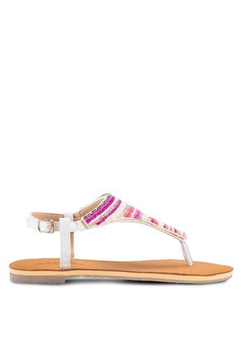 Sadie 民族風串珠平底涼鞋, 女鞋, esprit mongkok涼鞋