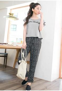 [IMPORTED] Plaid Comfort Slim Trousers - Black