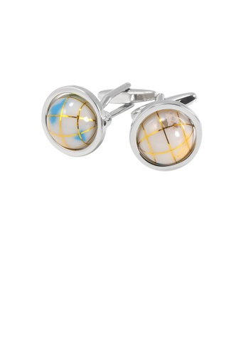 Glamorousky silver Fashion and Elegant Geometric White Ball Cufflinks 6272FAC3FDFDDAGS_1