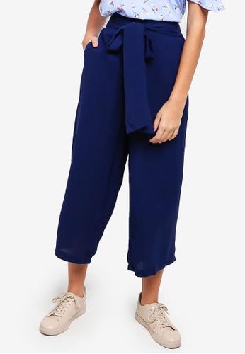 Something Borrowed blue Self Tie Straight Leg Culottes 77934AAD70FBF8GS_1