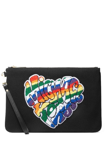 Michael Kors black MICHAEL Michael Kors Large Pride Heart Logo Canvas Zip Pouch 5ED5DACF1A8433GS_1
