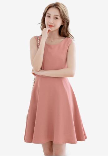 Eyescream pink Back Cut Out Flare Dress CE71FAA476D4BFGS_1