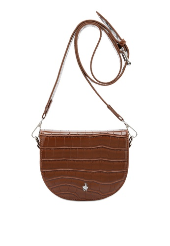 Swiss Polo brown Classic Crocodile Texture Sling Bag 21B2CAC344AEBEGS_1
