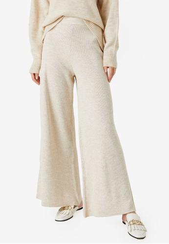 KOTON beige Wide Leg Knit Trousers F7ACBAAB479AB8GS_1