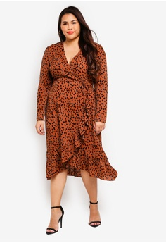 968b25be217d MISSGUIDED Plus Size Ruffle Wrap Over Midi Dress RM 165.00. Sizes 16 18 20  22 24