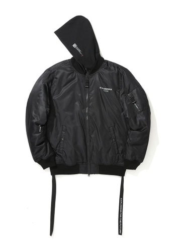 Fingercroxx black Logo print  hooded bomber jacket C5311AAFA7EED1GS_1