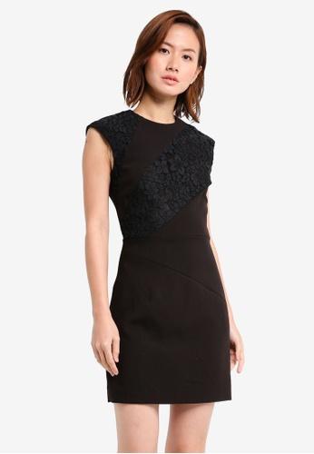 Mango black Lace Panel Dress MA193AA0T0XNMY_1