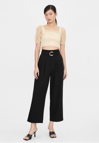 Pomelo black High Waist Woven Belted Pants - Black 8720CAA298D8F2GS_1