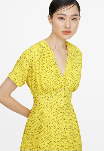 Pomelo yellow Mini V Neck Buttoned Dress - Yellow 774A5AA9CCE9F4GS_1
