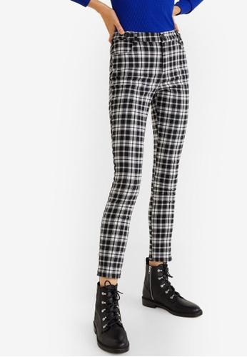 MANGO black Check Slim-Fit Trousers 813B9AAEE6CD9CGS_1