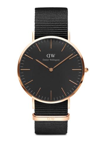 Daniel Wellington gold Classic Cornwall Black 40mm Rose Gold Watch C65ABACB2AC253GS_1
