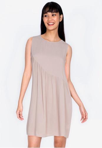 ZALORA BASICS beige Basic Asymmetric Frill Sleeveless Dress 2264AAAFEEC830GS_1