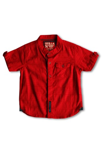 Osella Kids red Osella Baju Anak Laki Laki Kemeja Lengan Pendek Polos Red 63E43KA3DCB8D3GS_1