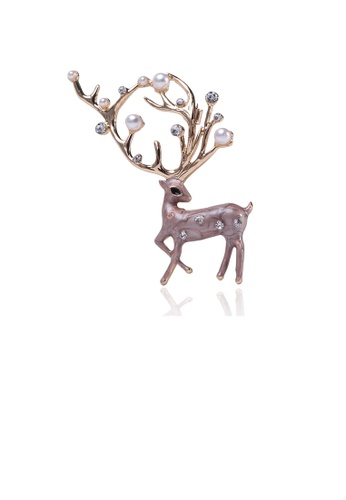 Glamorousky white Fashion Personality Brown Fawn Imitation Pearl Brooch with Cubic Zirconia 7795DAC1650917GS_1