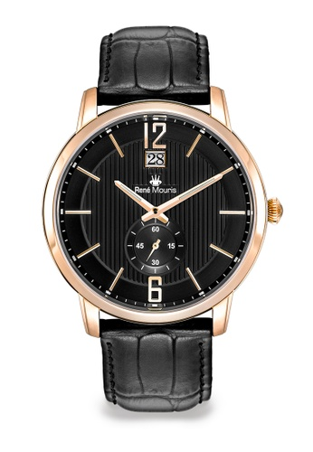 René Mouris multi Executive Collection - 44mm Classic Quartz Watch for Men's - Rose Gold Color Case and Black Color Genuine Leather Strap - Made in France 030BAACC97F287GS_1