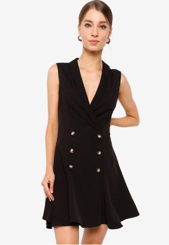 ZALORA WORK black Peplum Hem Tux Dress 75D4DAA783C29DGS_1