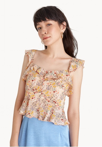 cc525fd699648 Buy Pomelo Floral Ruffle Trim Tank - Cream Online on ZALORA Singapore