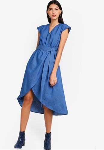 ZALORA blue Wrap Dress With Self Tie E3221AA0F03D33GS_1