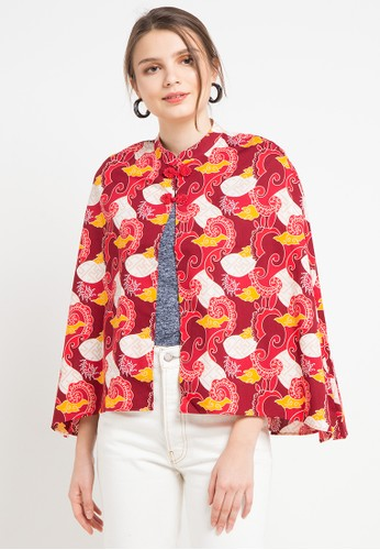 Bateeq red and multi Cardigan Cotton Print 0337FAA029383CGS_1