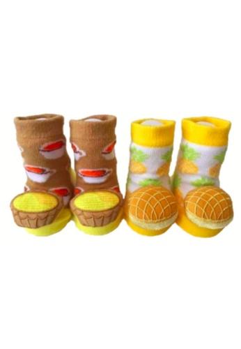 Waddle & Friends brown and yellow Rattle socks - EGG TART n PINEAPPLE BUN [HK edition] 45D5EKA818D51FGS_1