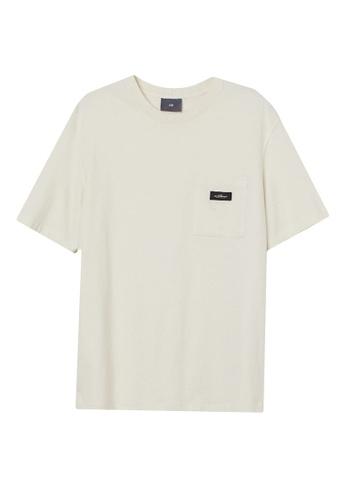 H&M white Chest-Pocket T-Shirt 46786AA86FC442GS_1