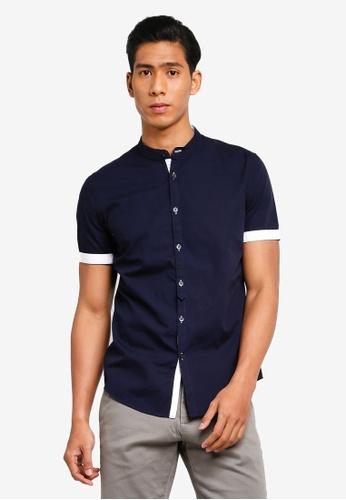 OVS 海軍藍色 Mandarin Collar Shirt 7318EAA88F5E93GS_1