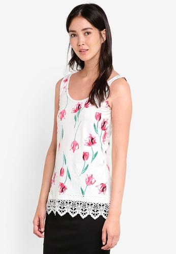Dorothy Perkins white Pink Tulip Print Pom Pom Vest DO816AA33GUSMY_1
