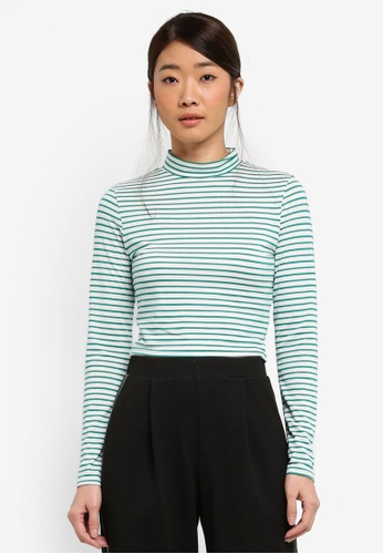 Miss Selfridge green Long Sleeve Stripe Funnel Neck Top 192D7AAF3355CFGS_1
