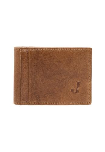 Jack Studio brown Jack Studio Leather Small Slim Front Pocket Bifold Card Holder EA756AC0970D5CGS_1